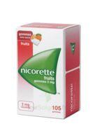 Nicorette 2 mg Gomme à mâcher médicamenteuse sans sucre fruits Plq/105 à Agen